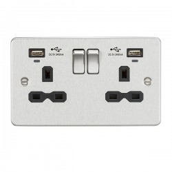 Knightsbridge Flat Plate Brushed Chrome 2 Gang 13A Switched USB Socket with Charging Indicators - Black Insert