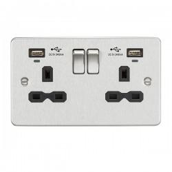 Knightsbridge Flat Plate Brushed Chrome 2 Gang 13A Switched USB Socket with Charging Indicators - Black Insert