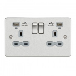 Knightsbridge Flat Plate Brushed Chrome 2 Gang 13A Switched USB Socket with Charging Indicators - Grey Insert