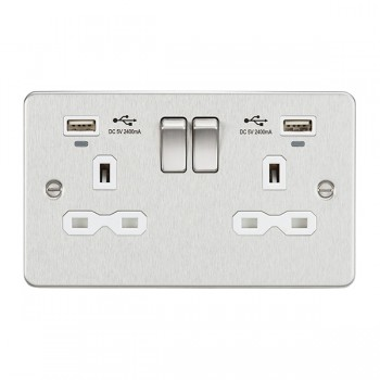 Knightsbridge Flat Plate Brushed Chrome 2 Gang 13A Switched USB Socket with Charging Indicators - White Insert