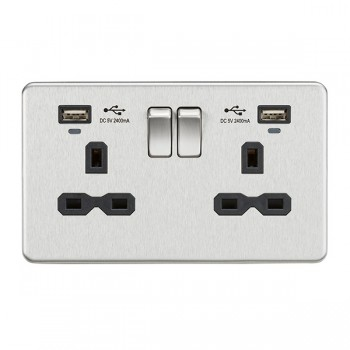 Knightsbridge Screwless Brushed Chrome 2 Gang 13A Switched USB Socket with Charging Indicators - Black Insert