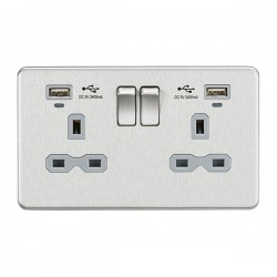 Knightsbridge Screwless Brushed Chrome 2 Gang 13A Switched USB Socket with Charging Indicators - Grey Insert