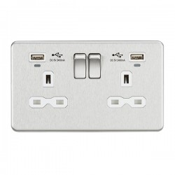 Knightsbridge Screwless Brushed Chrome 2 Gang 13A Switched USB Socket with Charging Indicators - White In...