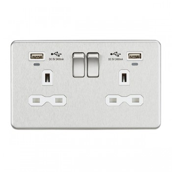Knightsbridge Screwless Brushed Chrome 2 Gang 13A Switched USB Socket with Charging Indicators - White Insert