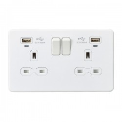 Knightsbridge Screwless Matt White 2 Gang 13A Switched USB Socket with Charging Indicators - White Insert