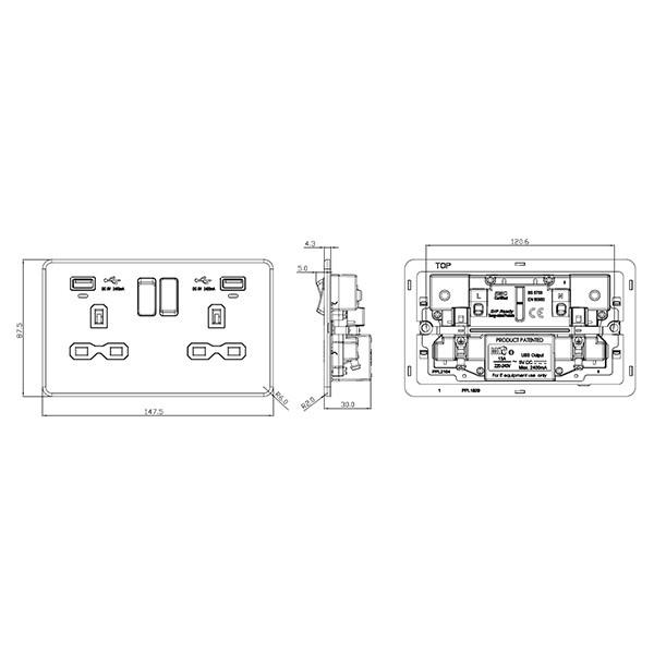 knightsbridge screwless matt white 2 gang 13a switched usb socket with  charging indicators - white insert