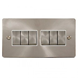Click Define Brushed Steel Flat Plate Six Gang Light Switch with White Insert