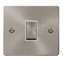 Click Define Brushed Steel Flat Plate Single Intermediate Switch with White Insert