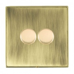 Hamilton Linea-Duo CFX Polished Brass/Antique Brass 2 Gang 100W 2 Way LEDIT-B100 LED Dimmer