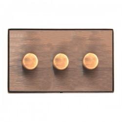 Hamilton Linea-Duo CFX Copper Bronze/Copper Bronze 3 Gang 100W 2 Way LEDIT-B100 LED Dimmer
