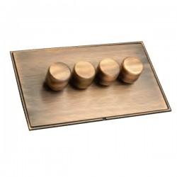 Hamilton Linea-Duo CFX Copper Bronze/Copper Bronze 4 Gang 100W 2 Way LEDIT-B100 LED Dimmer
