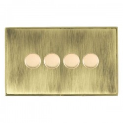 Hamilton Linea-Duo CFX Polished Brass/Antique Brass 4 Gang 100W 2 Way LEDIT-B100 LED Dimmer