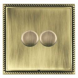 Hamilton Linea-Georgian CFX Antique Brass/Antique Brass 2 Gang 100W 2 Way LEDIT-B100 LED Dimmer