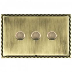 Hamilton Linea-Georgian CFX Antique Brass/Antique Brass 3 Gang 100W 2 Way LEDIT-B100 LED Dimmer