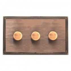 Hamilton Linea-Georgian CFX Copper Bronze/Copper Bronze 3 Gang 100W 2 Way LEDIT-B100 LED Dimmer