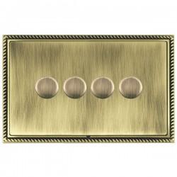 Hamilton Linea-Georgian CFX Antique Brass/Antique Brass 4 Gang 100W 2 Way LEDIT-B100 LED Dimmer