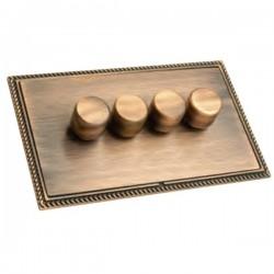 Hamilton Linea-Georgian CFX Copper Bronze/Copper Bronze 4 Gang 100W 2 Way LEDIT-B100 LED Dimmer