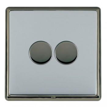 Hamilton Linea-Rondo CFX Black Nickel/Bright Steel 2 Gang 100W 2 Way LEDIT-B100 LED Dimmer