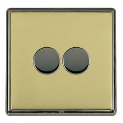 Hamilton Linea-Rondo CFX Black Nickel/Polished Brass 2 Gang 100W 2 Way LEDIT-B100 LED Dimmer