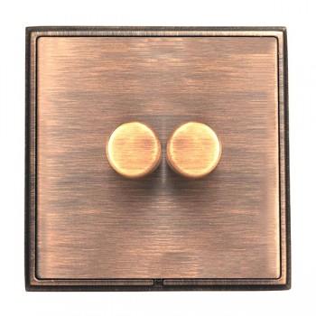 Hamilton Linea-Rondo CFX Copper Bronze/Copper Bronze 2 Gang 100W 2 Way LEDIT-B100 LED Dimmer