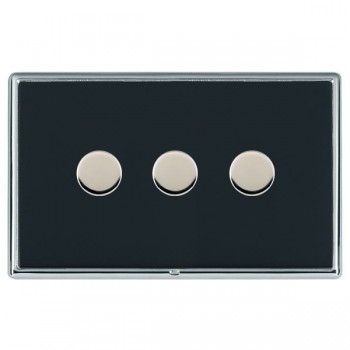 Hamilton Linea-Rondo CFX Bright Chrome/Piano Black 3 Gang 100W 2 Way LEDIT-B100 LED Dimmer