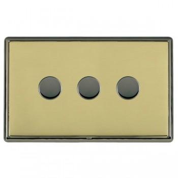 Hamilton Linea-Rondo CFX Black Nickel/Polished Brass 3 Gang 100W 2 Way LEDIT-B100 LED Dimmer