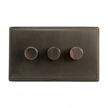 Hamilton Linea-Rondo CFX Etrium Bronze/Etrium Bronze 3 Gang 100W 2 Way LEDIT-B100 LED Dimmer