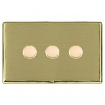 Hamilton Linea-Rondo CFX Polished Brass/Satin Brass 3 Gang 100W 2 Way LEDIT-B100 LED Dimmer
