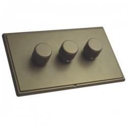 Hamilton Linea-Rondo CFX Richmond Bronze/Richmond Bronze 3 Gang 100W 2 Way LEDIT-B100 LED Dimmer
