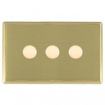 Hamilton Linea-Rondo CFX Satin Brass/Satin Brass 3 Gang 100W 2 Way LEDIT-B100 LED Dimmer