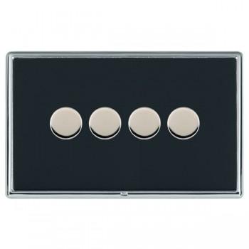 Hamilton Linea-Rondo CFX Bright Chrome/Piano Black 4 Gang 100W 2 Way LEDIT-B100 LED Dimmer