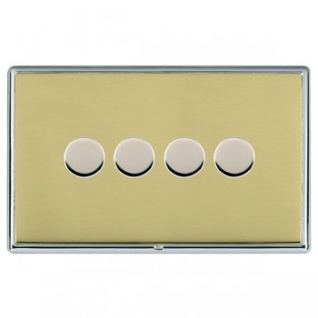 Hamilton Linea-Rondo CFX Bright Chrome/Polished Brass 4 Gang 100W 2 Way LEDIT-B100 LED Dimmer