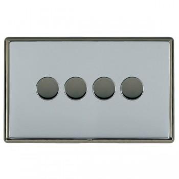 Hamilton Linea-Rondo CFX Black Nickel/Bright Steel 4 Gang 100W 2 Way LEDIT-B100 LED Dimmer