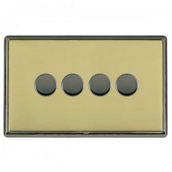 Hamilton Linea-Rondo CFX Black Nickel/Polished Brass 4 Gang 100W 2 Way LEDIT-B100 LED Dimmer