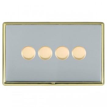 Hamilton Linea-Rondo CFX Polished Brass/Bright Steel 4 Gang 100W 2 Way LEDIT-B100 LED Dimmer