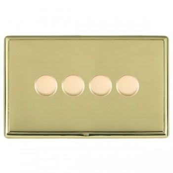Hamilton Linea-Rondo CFX Polished Brass/Polished Brass 4 Gang 100W 2 Way LEDIT-B100 LED Dimmer