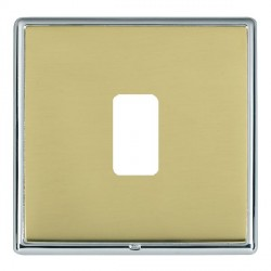Hamilton Linea-Rondo CFX Bright Chrome/Polished Brass 1 Gang Grid Fix Aperture Plate with Grid