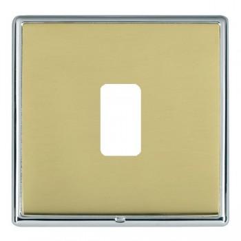 Hamilton Linea-Rondo CFX Bright Chrome/Polished Brass 1 Gang Grid Fix Aperture Plate with Grid