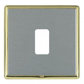 Hamilton Linea-Rondo CFX Polished Brass/Satin Steel 1 Gang Grid Fix Aperture Plate with Grid