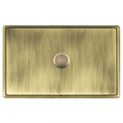Hamilton Linea-Rondo CFX Antique Brass/Antique Brass Push On/Off Dimmer 1 Gang 2 way with Antique Brass I...