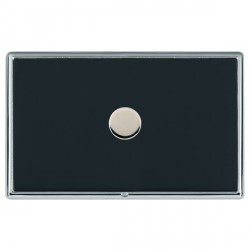 Hamilton Linea-Rondo CFX Bright Chrome/Piano Black Push On/Off Dimmer 1 Gang 2 way with Bright Chrome Ins...