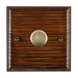 Hamilton Woods Ovolo Antique Mahogany 1 Gang 100W 2 Way LEDIT-B100 LED Dimmer with Antique Brass Knob