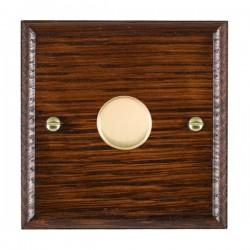 Hamilton Woods Ovolo Antique Mahogany 1 Gang 100W 2 Way LEDIT-B100 LED Dimmer with Polished Brass Knob