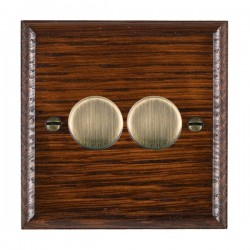 Hamilton Woods Ovolo Antique Mahogany 2 Gang 100W 2 Way LEDIT-B100 LED Dimmer with Antique Brass Knobs