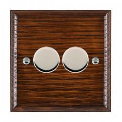 Hamilton Woods Ovolo Antique Mahogany 2 Gang 100W 2 Way LEDIT-B100 LED Dimmer with Bright Chrome Knobs