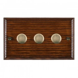 Hamilton Woods Ovolo Antique Mahogany 3 Gang 100W 2 Way LEDIT-B100 LED Dimmer with Antique Brass Knobs