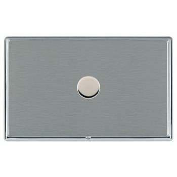 Hamilton Linea-Rondo CFX Bright Chrome/Satin Steel Push On/Off Dimmer 1 Gang 2 way with Bright Chrome Insert