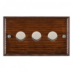 Hamilton Woods Ovolo Antique Mahogany 3 Gang 100W 2 Way LEDIT-B100 LED Dimmer with Bright Chrome Knobs