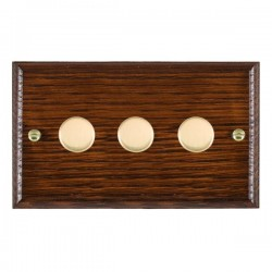 Hamilton Woods Ovolo Antique Mahogany 3 Gang 100W 2 Way LEDIT-B100 LED Dimmer with Polished Brass Knobs