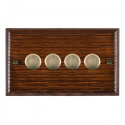 Hamilton Woods Ovolo Antique Mahogany 4 Gang 100W 2 Way LEDIT-B100 LED Dimmer with Antique Brass Knobs
